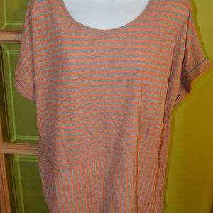 JNY 2x orange and gray stripe top